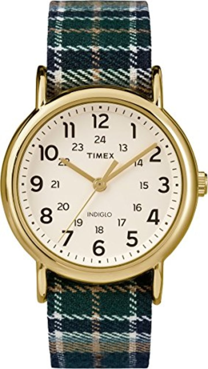 33c9c8d80ca61 4. Timex Unisex Indiglo Weekender Slip-Thu Plaid Fabric Strap Watch, $40,  Amazon