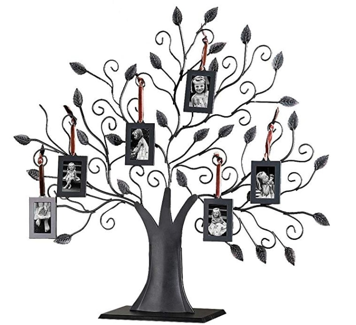 Studio Silversmiths Bronze Metal Family Tree With Hanging Photo Frames