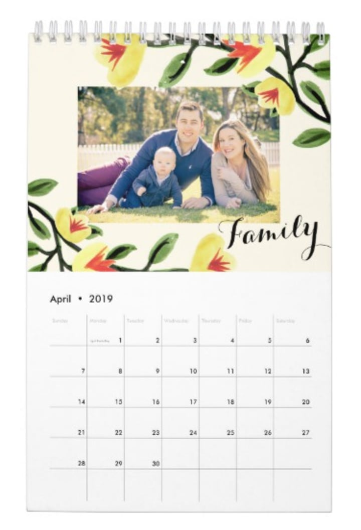 Personalized Floral Picture Calendar