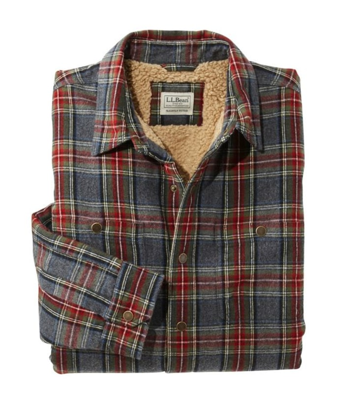 LLBean Sherpa Lined Plaid Flannel