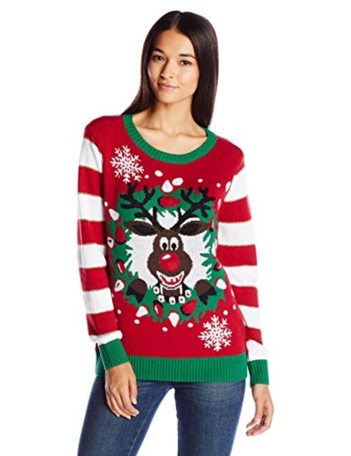 womens light up reindeer wreath sweater