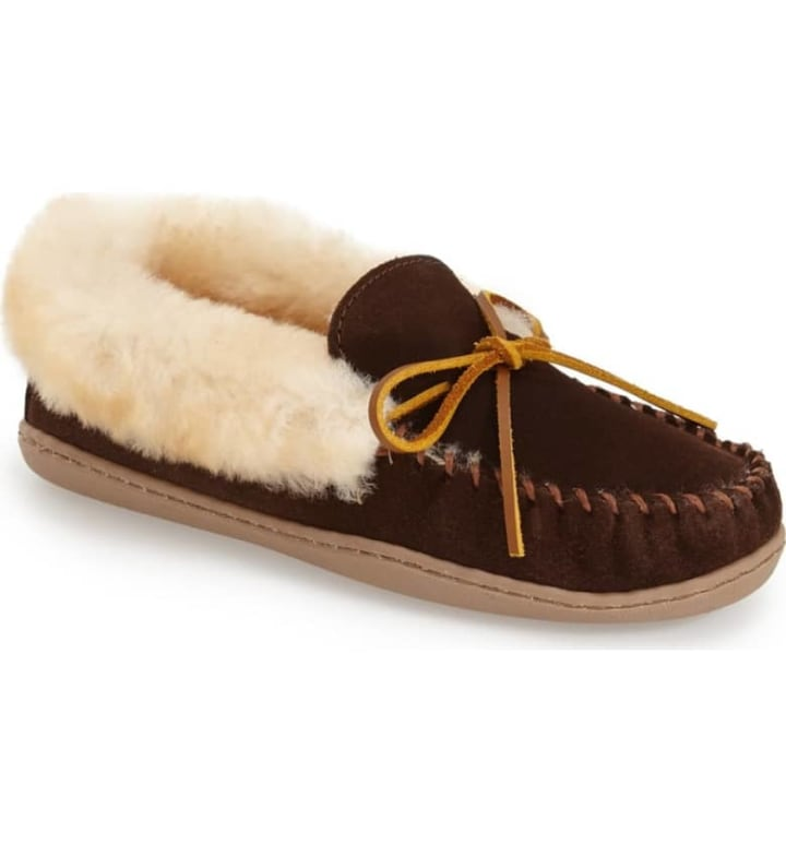 4606a39ffd0 Minnetonka  Alpine  Genuine Shearling Moccasin Slipper