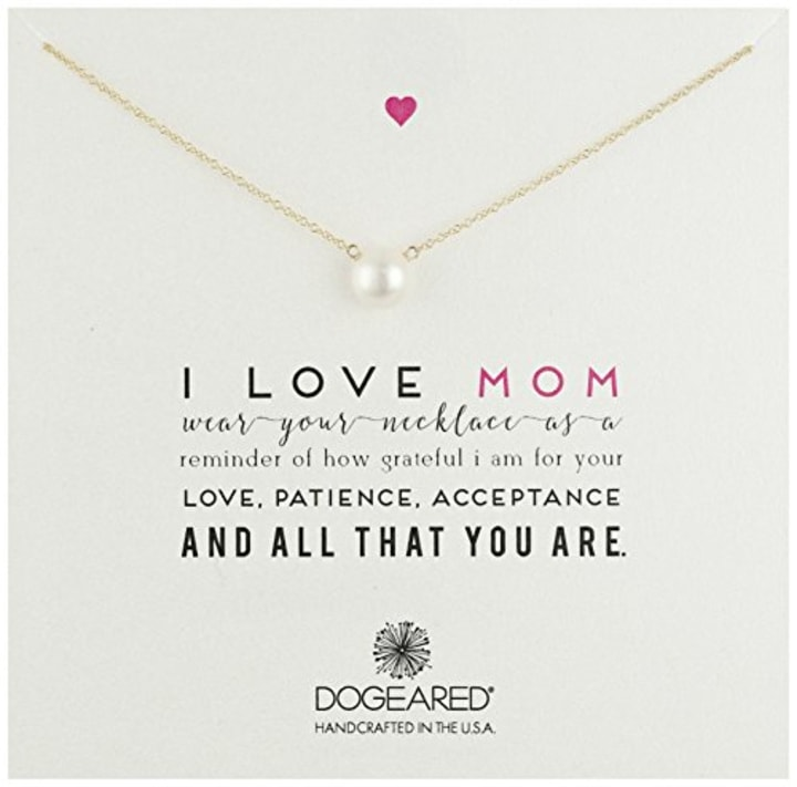 Dogeared I Love Mom Pearl Necklace