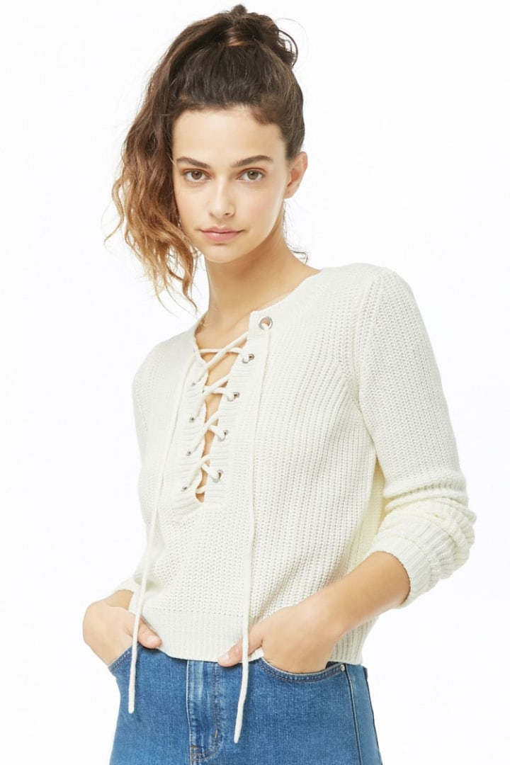 b2ee180652 Lace-Up Knit Sweater ·  10.00. Forever 21