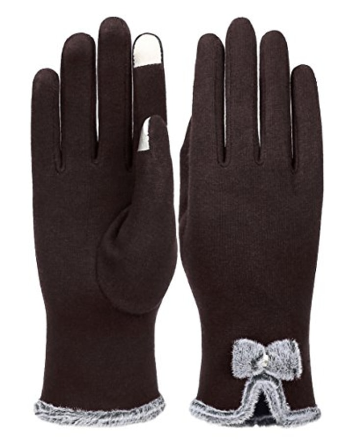 Knolee Women/'s Button Touch Screen Glove Lined Thick Warmer Winter Gloves,Black