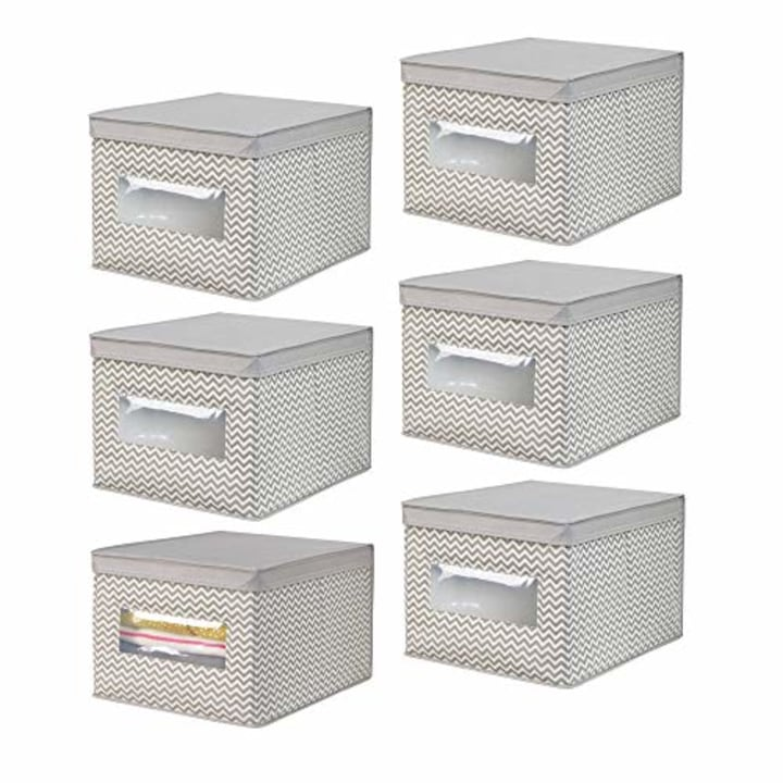 Mdesign Soft Fabric Stackable Closet Storage Organizer Box