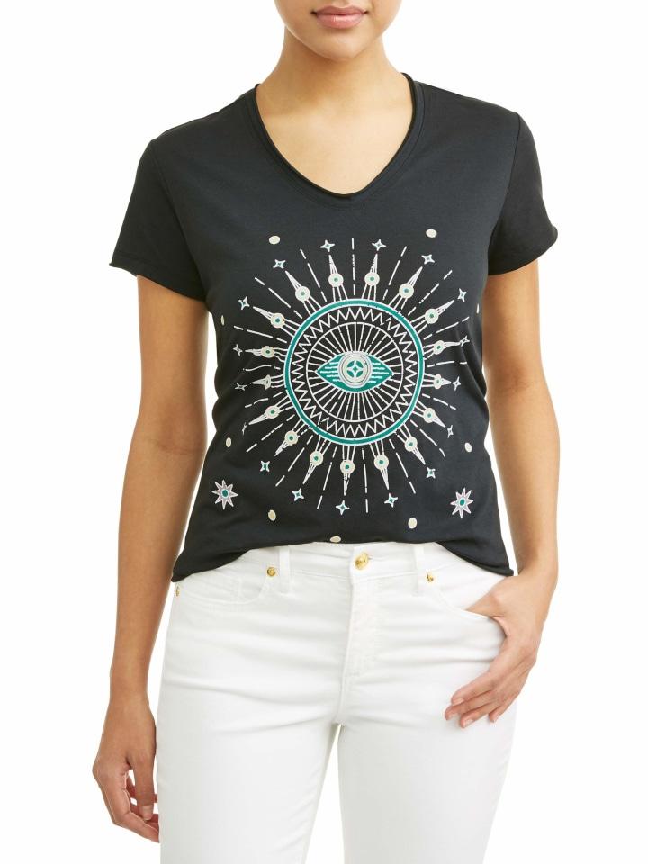 fedac2f2e3945 Evil Eye Short Sleeve V-Neck Graphic T-Shirt