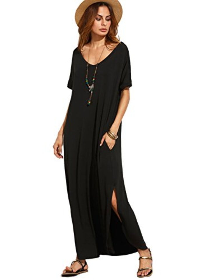 d185973460eb MakeMeChic Women's Casual Loose Pocket Maxi Dress