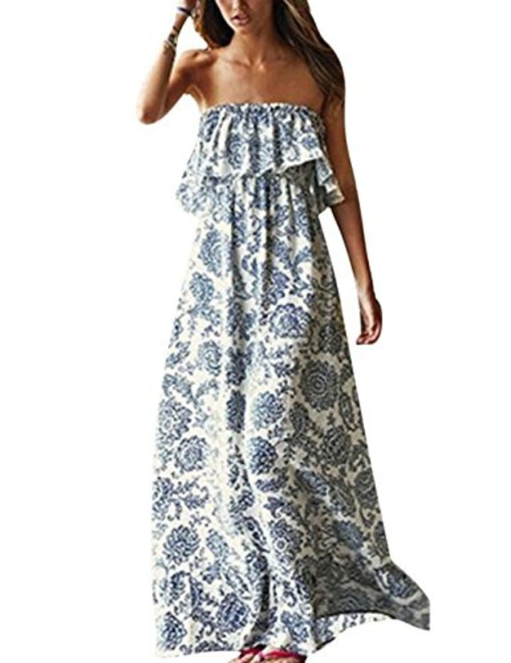 d4d0d2b760c4 Yidarton Summer Blue And White Porcelain Strapless Boho Maxi Dress