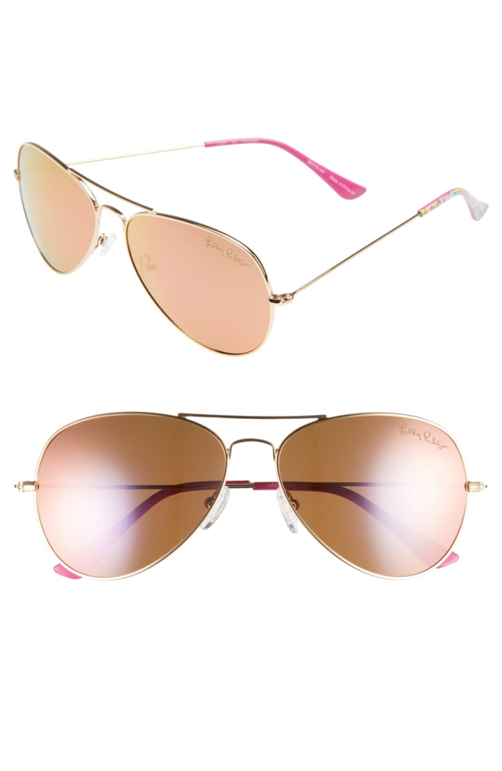 ed9b5b722a63 Lilly Pulitzer Women's Lexy Polarized Aviator Sunglasses