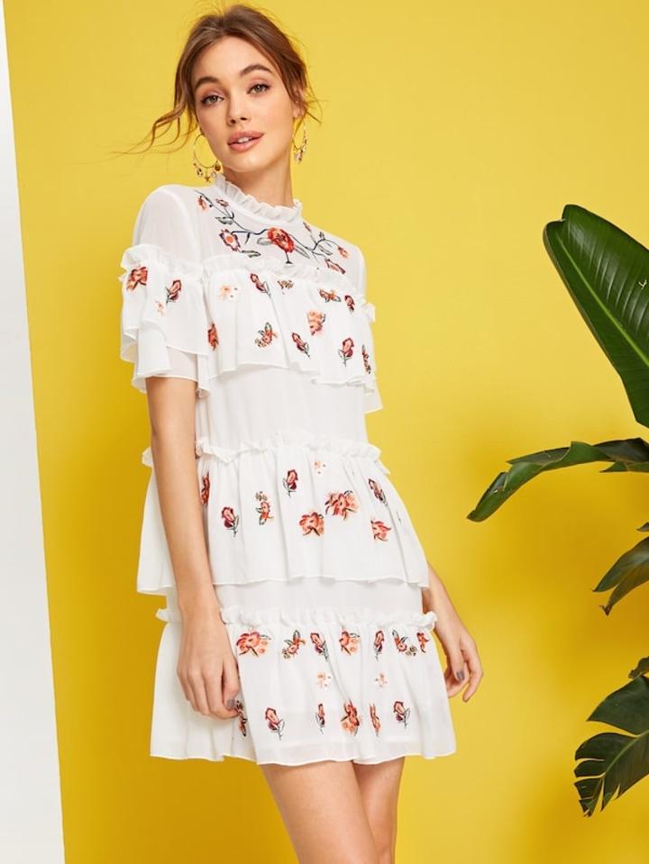 4cbd52d12d SHEIN Layered Ruffle Detail Embroidery Floral Chiffon Dress