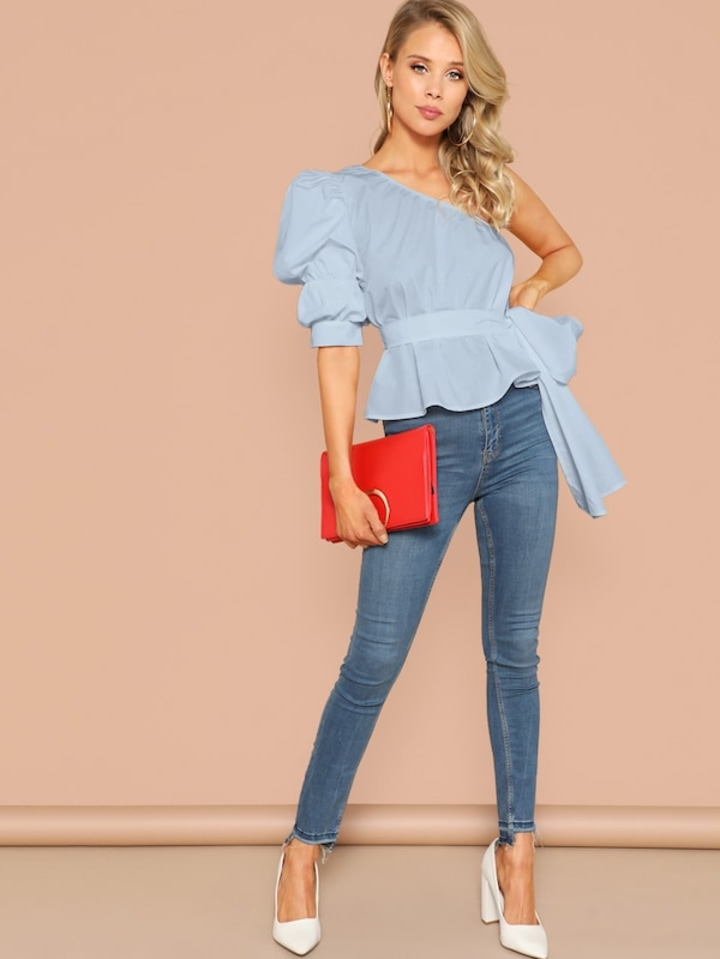 8164c3f2e6 SHEIN One Shoulder Gathered Sleeve Belted Top