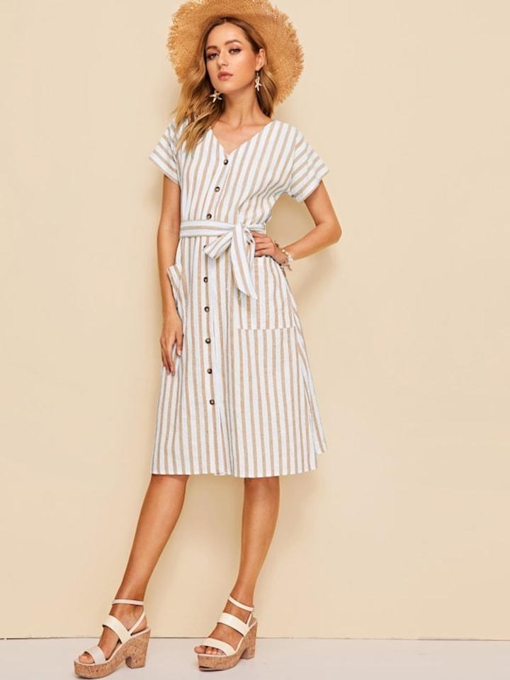 6b39366b04 SHEIN Pocket Front Button Up Self Belted Dress