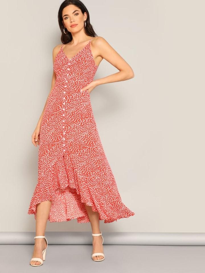658c0b5c64 SHEIN Dalmatian Print Ruffle Hem Button Cami Dress