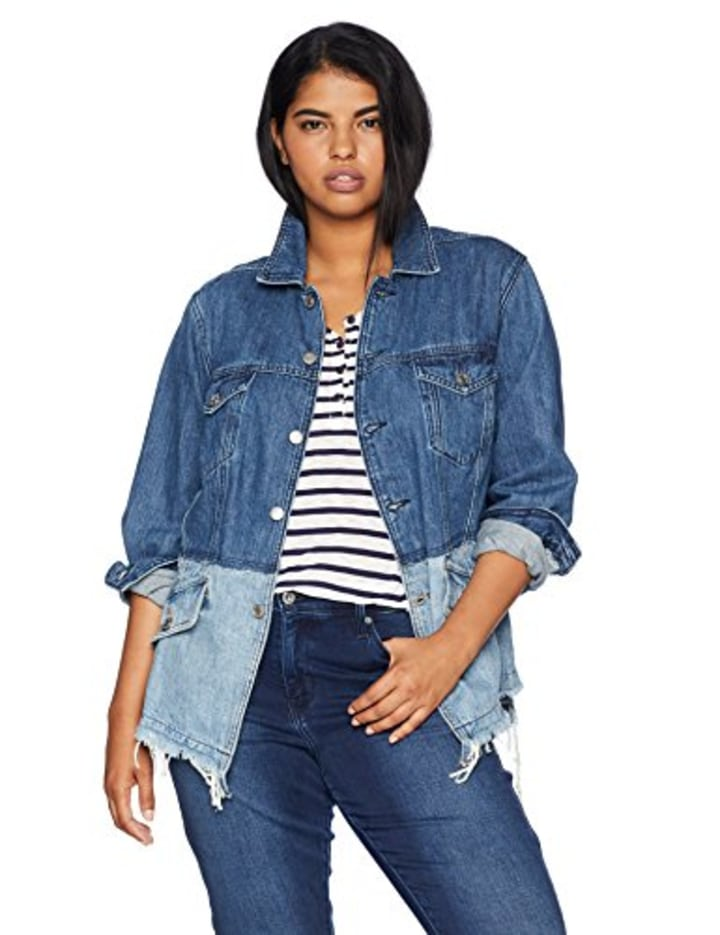 d3f8a1fa8c4 Lucky Brand Women's Plus Size Pieced Waisted Trucker Jacket