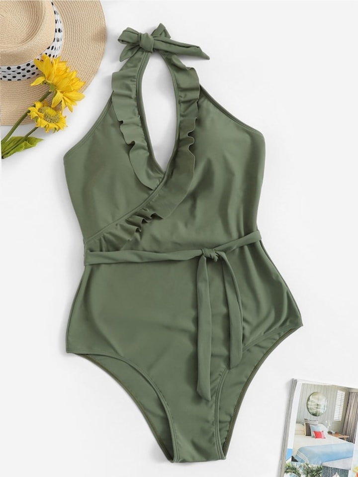 6ab7ec7694 Ruffle Belted Halter One Piece Swimsuit