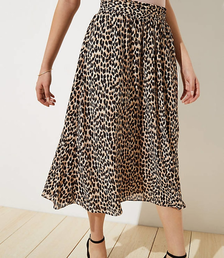 c2d001f8ef Leopard Print Smocked Pull On Maxi Skirt