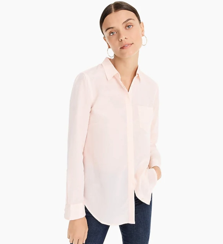 0516912afe Silk Button-Up Shirt, $48 (originally $120), J.Crew