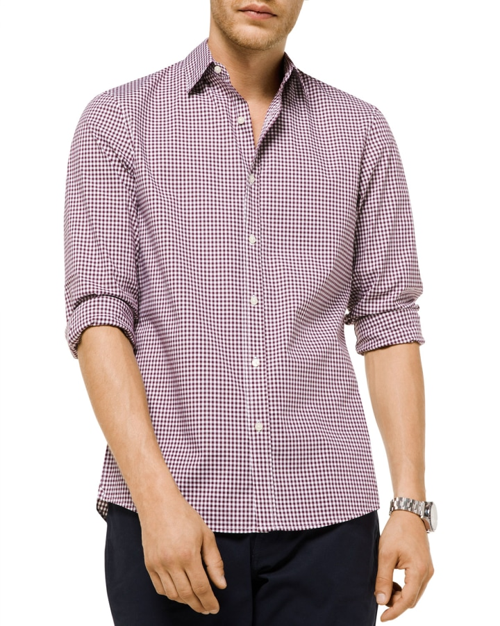 f5e63c896ba573 Michael Kors Men's Striped Plaid Trim-Fit Sport Shirt