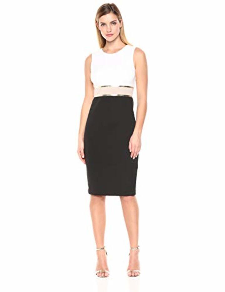 e038b3b8007 Calvin Klein Women's Sleeveless Color Block Sheath with Metallic Trim Dress,  Black/Multi, 8