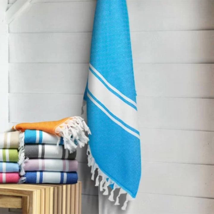 3RD CULTURE Turkish Peshtemal Pool and Beach Towel Teal