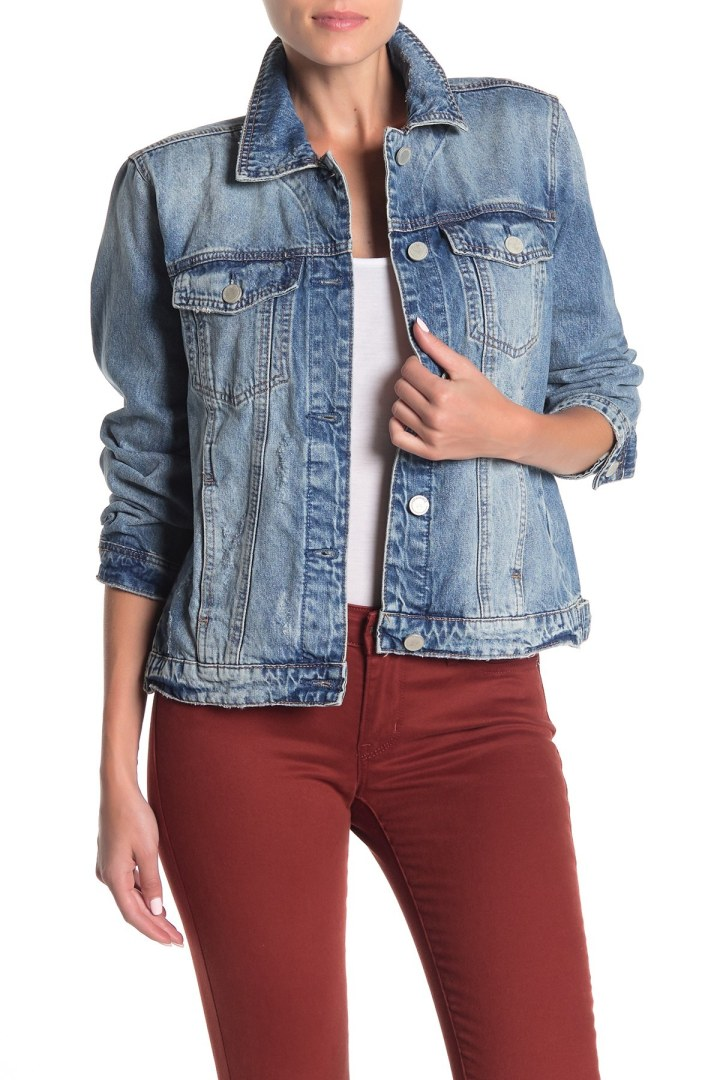 Womens Cropped Denim Jacket Dark Wash Look Top Full Sleeve Stretch Jean Coat