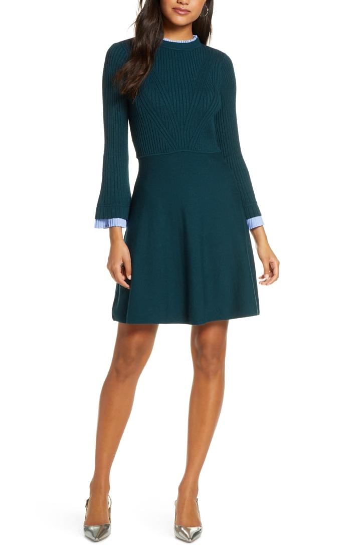PattyBoutik Women Fit and Flare Knit Sweater Skirt