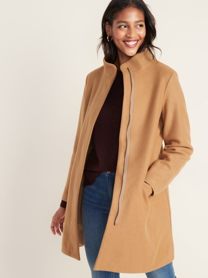 On Going--Love Women Short Woolen Coat Belt Jacket,Beige,S
