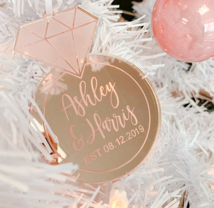 Wood Ornament Engagement Gift Wooden Ornament,Personalized Engagement Gift Christmas Engagement Ornament Wedding Ornament Wedding Gift