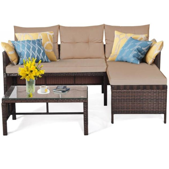 22 Best Patio Furniture Sets Of 2021, Patio Furniture 3 Piece Sectional Sofa Resin Wicker Beige
