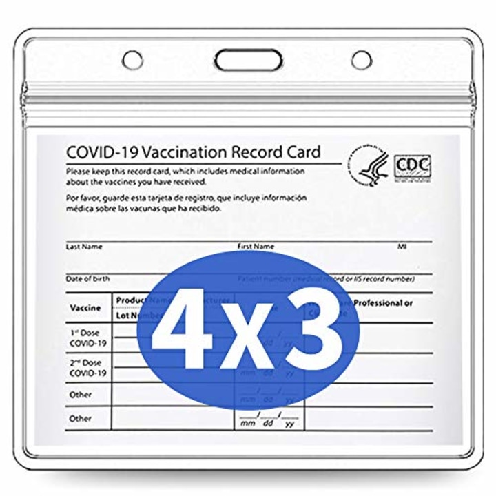 Vaccination Card Protector 4 x 3 in for CDC Immunization Record Clear Plastic Vaccine Card Sleeve w 3 Lanyard Slot for Events /& Travel Waterproof CDC Vaccine Card Holder CDC Vaccine Card Protector