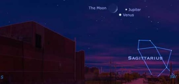 Image: Rendition of Dec. 1 night sky showing the moon, Venus and Jupiter