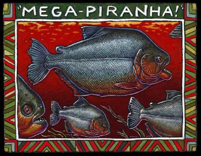 An artist's rendering shows Megapiranha paranensis, the 3-foot-long ancestor of the modern piranha.