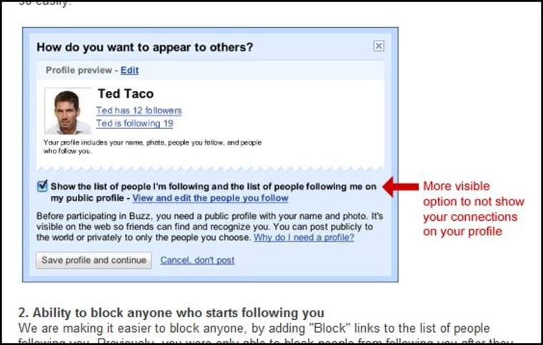 Image: Google blog about Buzz