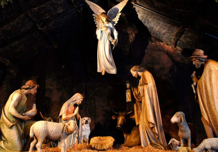 Nativity scene with dog at St. Patrick's Cathedral in New York City.