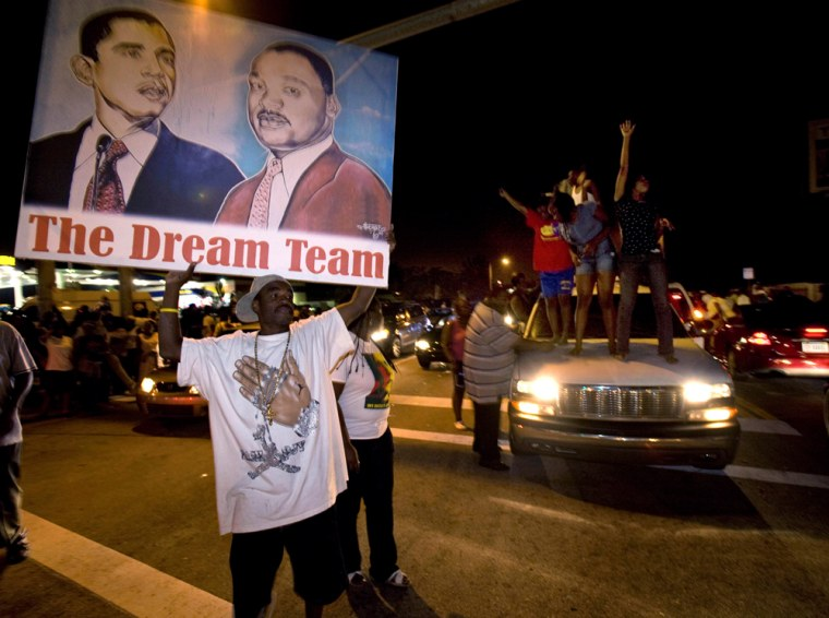 Thousands celebrated Barack Obama's victoryin the Little Haiti neighborhood of Miamiearly on Wednesday.