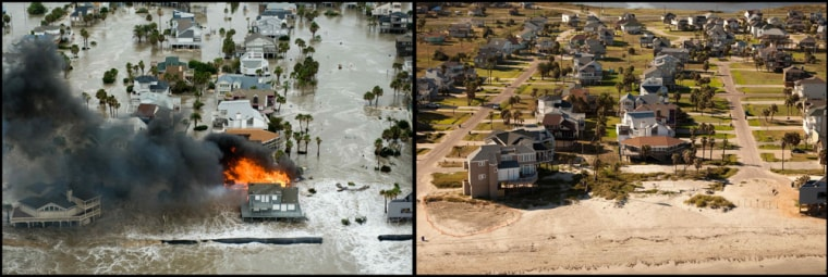 Image: In this combination photo, at left, a home burns during Hurrican Ike, Friday, Sept. 12, 2008,  in Galveston, Texas. At right, the same scene is photographed Aug. 16, 2009