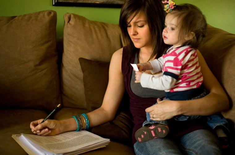 Image: Ashley Van Wormer, 20, studies for a GED