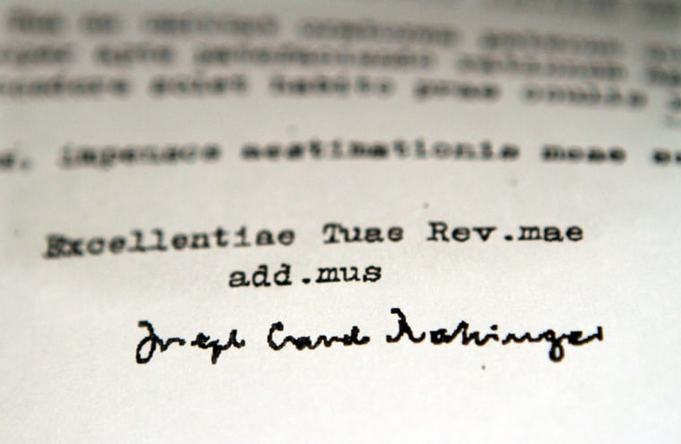 Image: A detail of a 1985 letter obtained by the Associated Press signed by then-Cardinal Joseph Ratzinger,