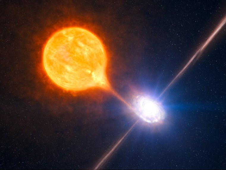 Combining observations done with ESO's Very Large Telescope and NASA's Chandra X-ray telescope, astronomers have uncovered the most powerful pair of jets ever seen from a stellar black hole. The black hole blows a huge bubble of hot gas, 1,000 light-years across or twice as large and tens of times more powerful than the other such microquasars. The stellar black hole belongs to a binary system as pictured in this artist's impression.