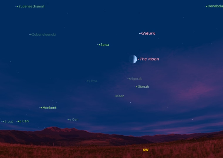 This sky map shows the location of the moon, Saturn and the bright star Spica on Thursday at 9 p.m. local time as seen from mid-northern latitudes.