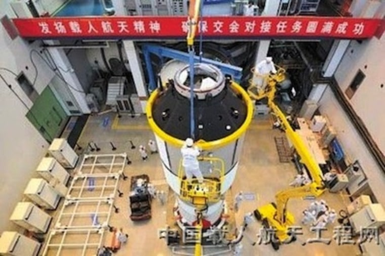 A photo of the Tiangong 1 module undergoing testing earlier in 2011.