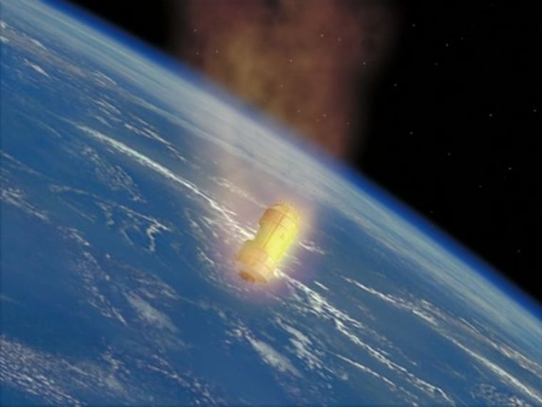 An artist's illustration of Japan's robotic cargo ship, the H-2 Transfer Vehicle, burning up in Earth's atmosphere at the end of its mission.