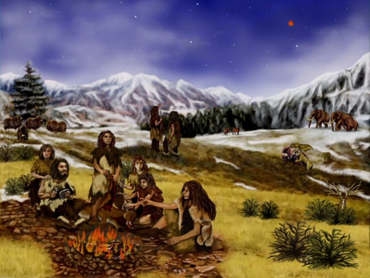 Bones left behind at Neanderthal sites suggest that families like the one shown in this artist's conception followed a balanced diet.