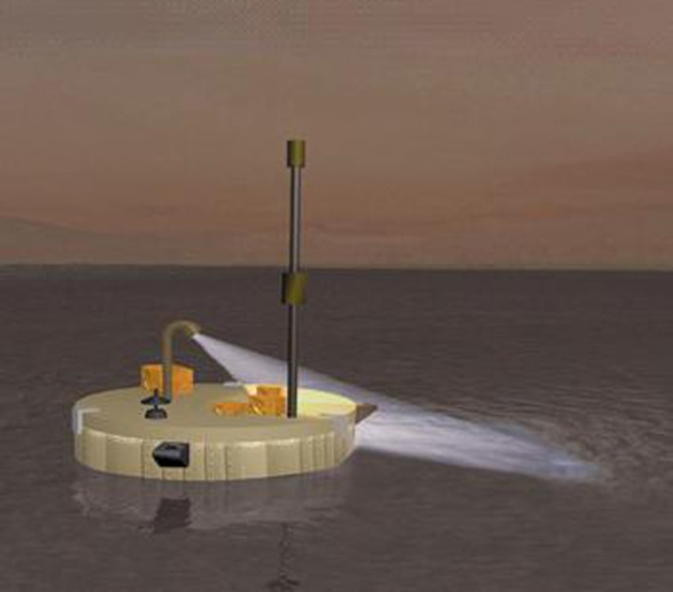 An artist's conception of the Titan Mare Explorer exploring Titan's methane ocean.