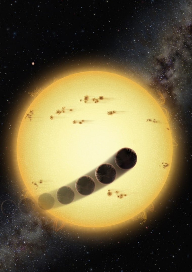 Some hot Jupiter alien planets orbit in a direction opposite to the stellar rotation. This can be caused by gravitational perturbations of another hot Jupiter in the system (shown in upper left).