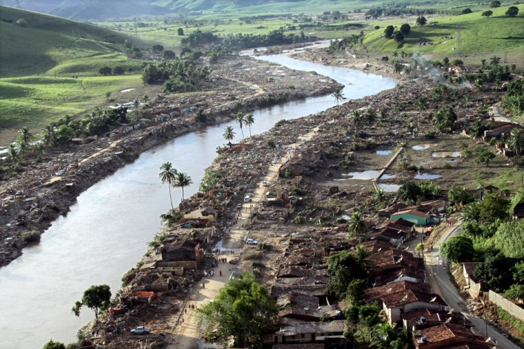 Image: Area after the overflowing of the Mandau river, in Uniao dos Palmares, Alagoas State, northeastern Brazil