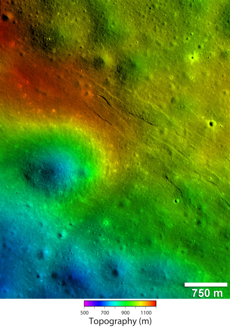 These newly detected narrow linear troughs are known as graben, and they formed in highlands of the moon's far side. Forces acting to pull the lunar crust apart formed the Virtanen graben, informally named for a nearby crater. These graben are located on a rise with several hundred meters of relief revealed in topography derived from Lunar Reconnaissance Orbiter Camera. The rise is flanked by the rim of a 2.5 km diameter degraded crater.