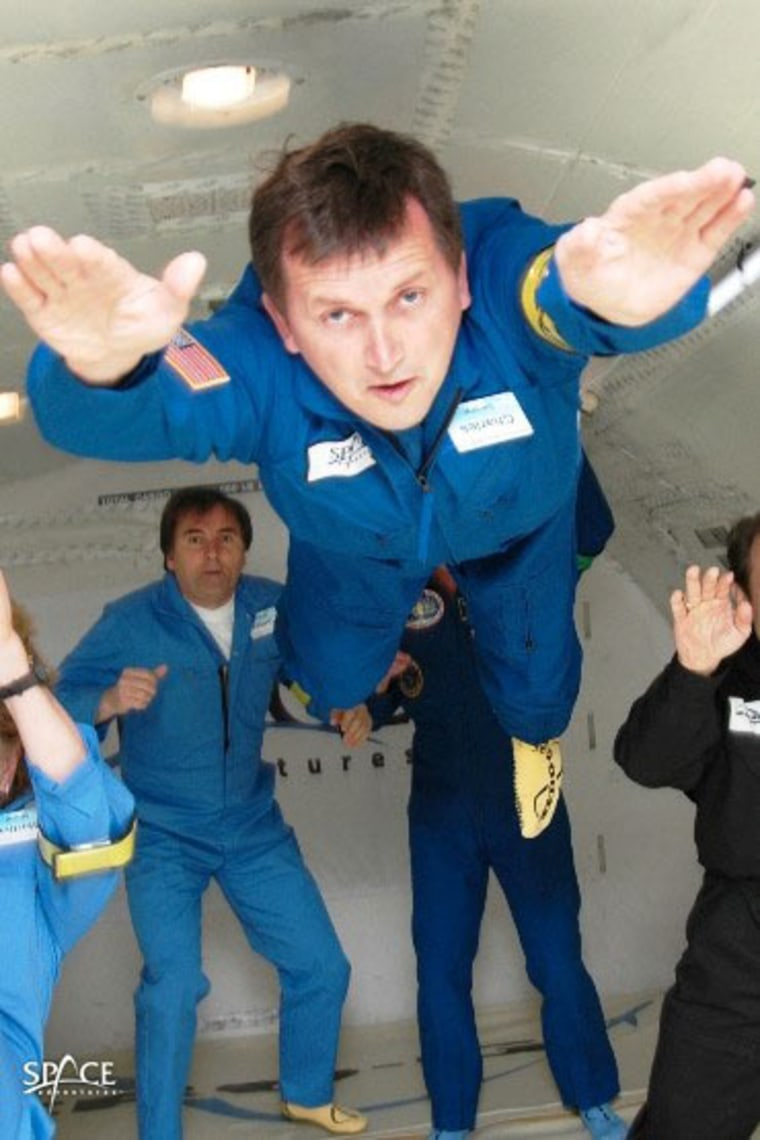Space tourist Charles Simonyi trains for weightless flight. Credit: Space Adventures.