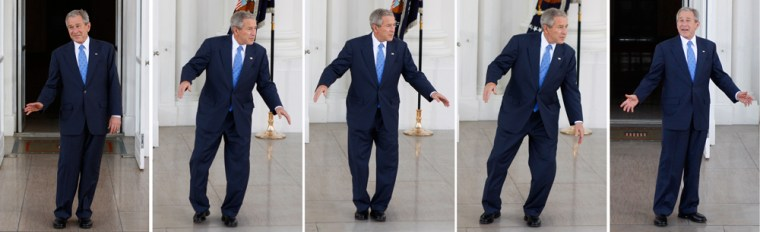 Combo photo shows U.S. President George W. Bush dancing around on the North Portico of the White House in Washington